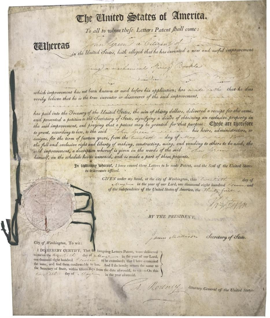 Thomas Jefferson & James Madison Signed patent