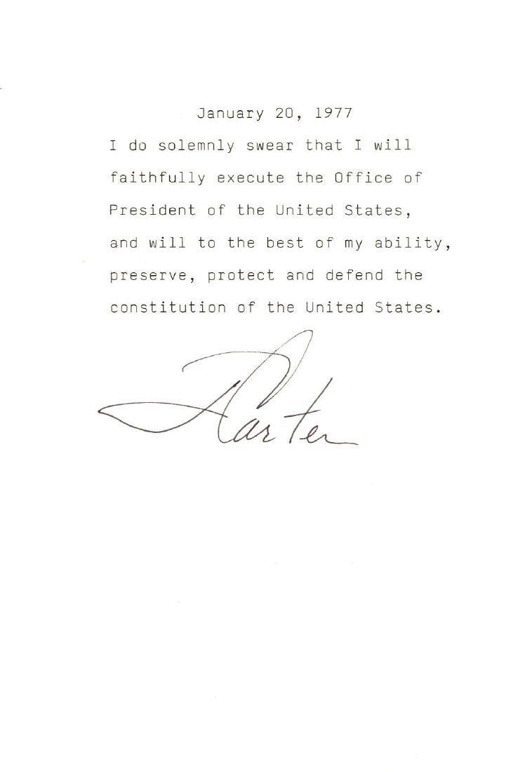 Jimmy Carter Signed Oath For President