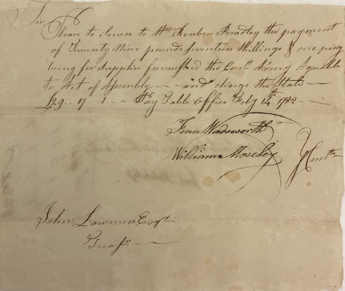 1782  Connecticut Revolutionary War Signed Promissory