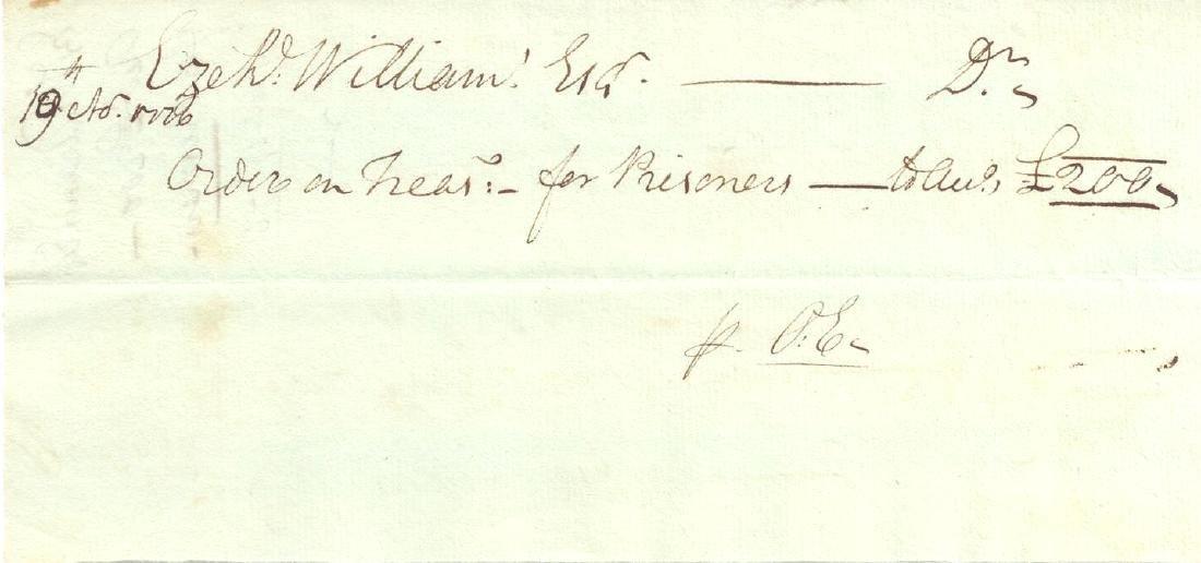 Revolutionary War document for prisoners dated November