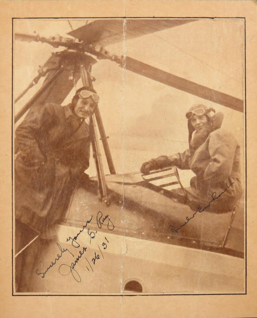 """Amelia Earhart & James G. Ray signed 5""""x 5.5"""" paper"""