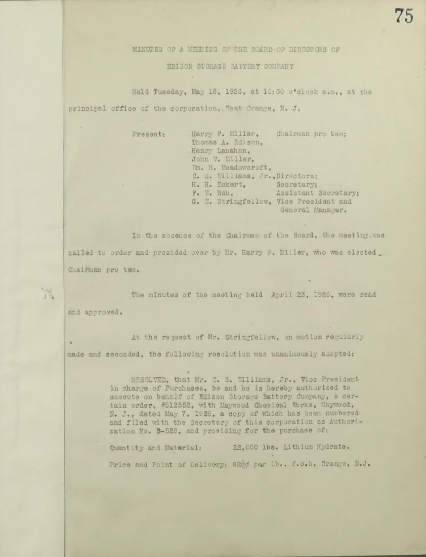 Thomas Edsion Signed Minutes