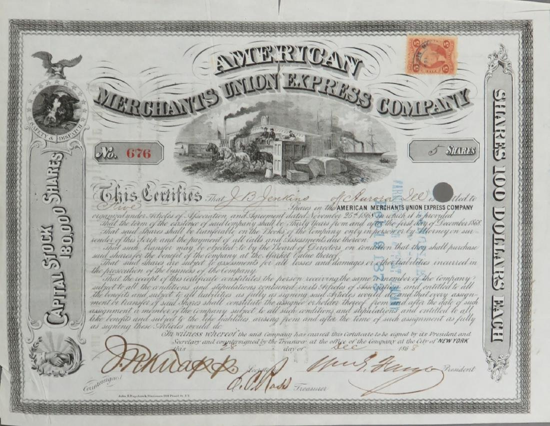 AMERICAN MERCHANTS UNION EXPRESS COMPANY Signed by