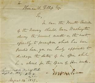 Martin Van Buren Letter Signed Appointing Fourth