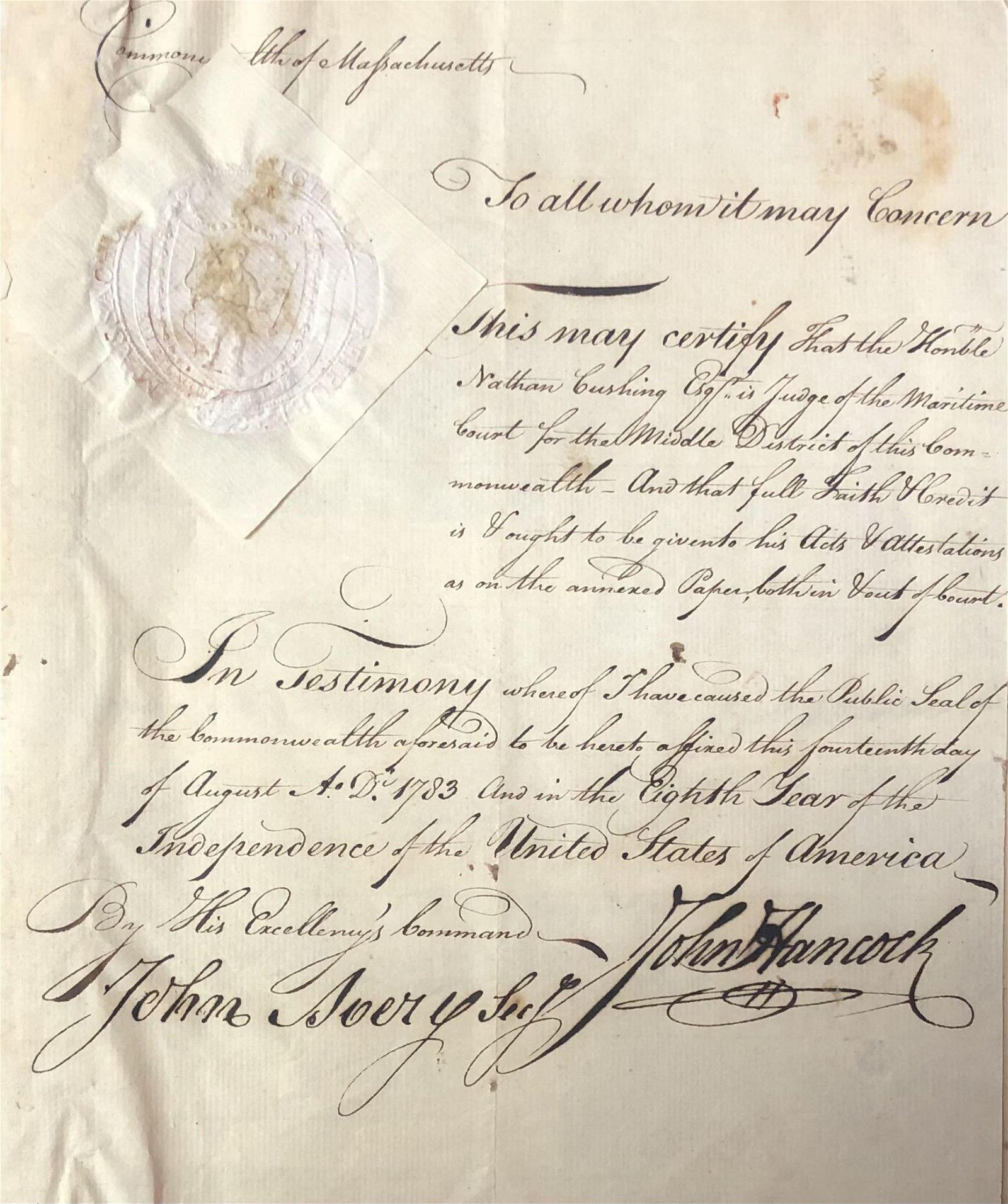 Autograph Collection: Including John Hancock, John