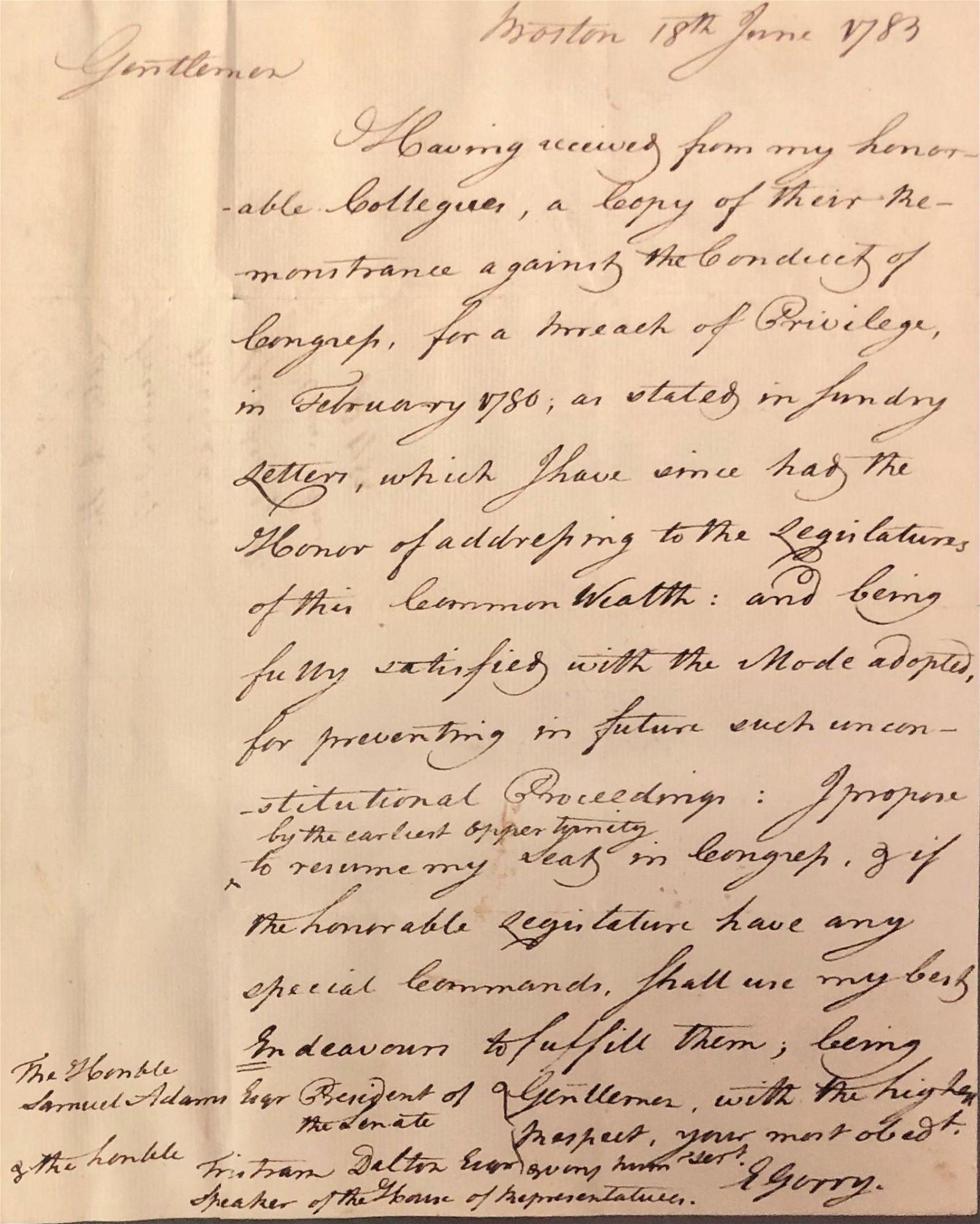 Important Elbridge Gerry to Samuel Adams asking for his