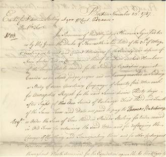 William Shirley, French and Indian War Document