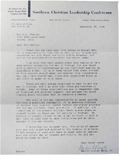 Martin Luther King Jr Letter Discussing Vietnam War