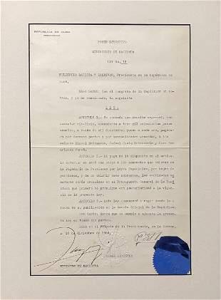 Fulgencio Batista Signed Document