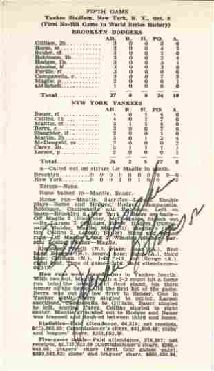 Don Larsen's Perfect Game Scorecard Signed By Jackie