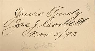 James J. Corbett Signature as World Champion in 1892