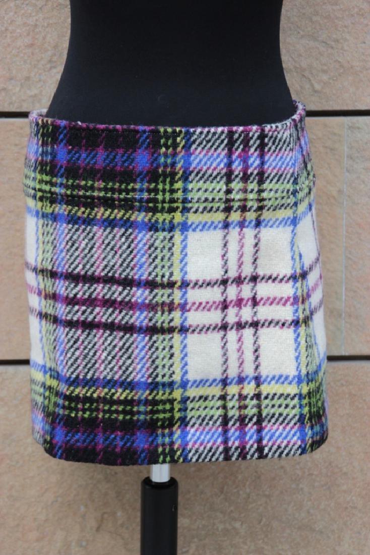 BURBERRY Mini-jupe en laine à imprimé kilt. Taille UK 1