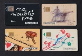 Ensemble de quatre cartes téléphoniques France Telecom