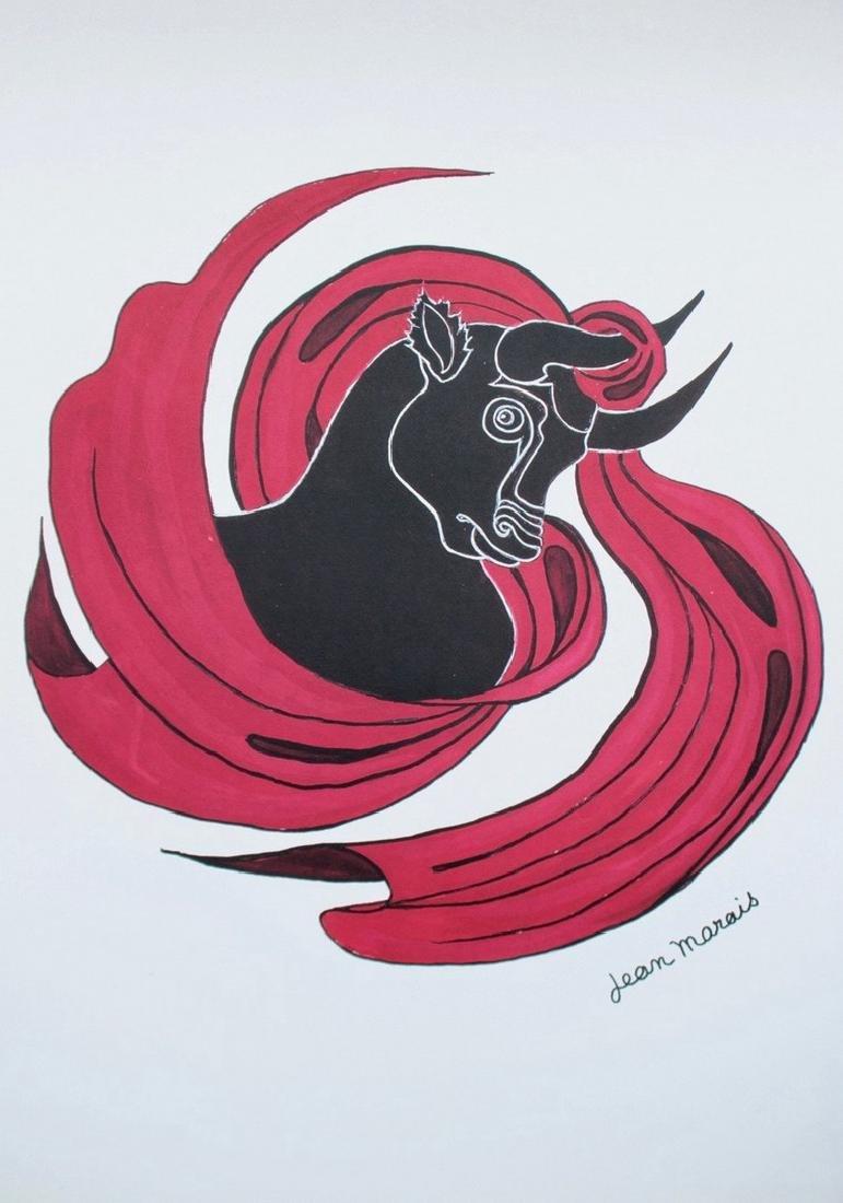 Jean MARAIS (1913-1998) Le Taureau Lithographie en