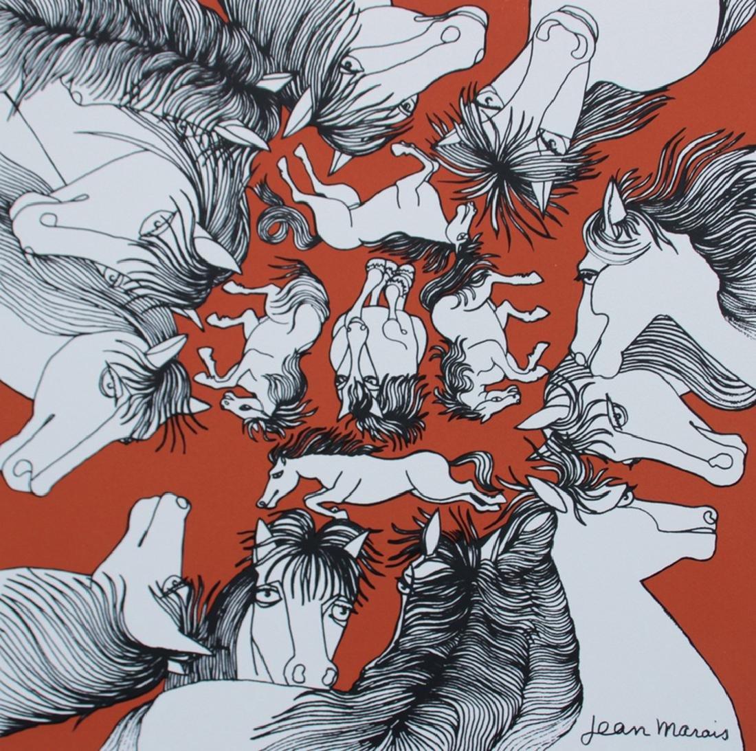 Jean MARAIS (1913-1998) Chevaux sur fond orange
