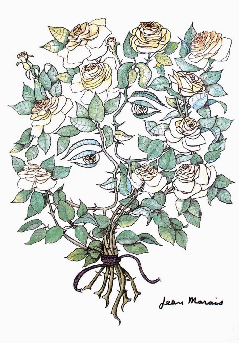 Jean MARAIS (1913-1998) Le couple de roses Lithographie