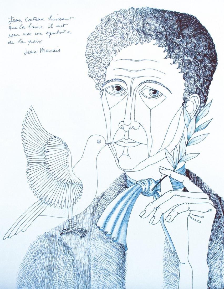 Jean MARAIS (1913-1998) Jean COCTEAU à la colombe