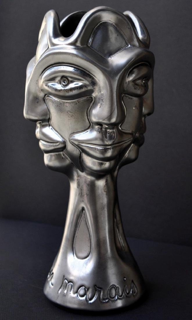 Jean MARAIS (1913-1998) Quatre profils Epreuve en terre