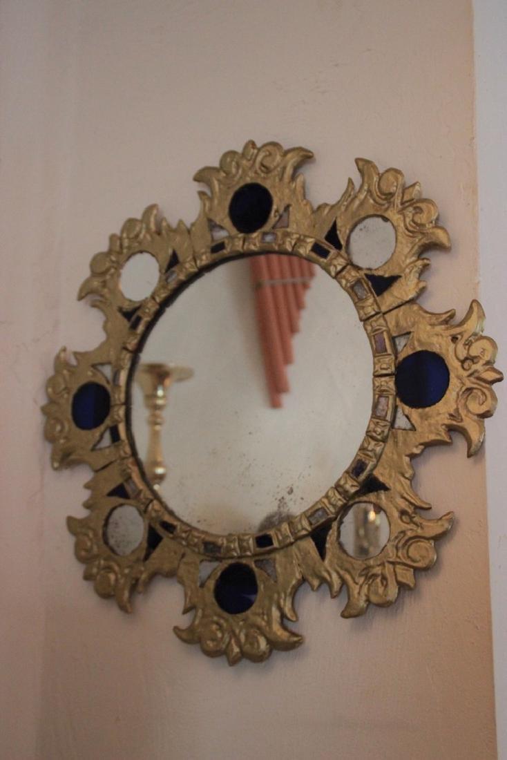 Miroir Soleil Bronze, terre cuite et tessons de verre