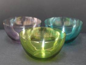 LALIQUE France Service à fruits en cristal de couleurs