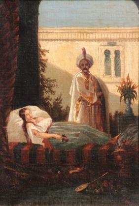 Stefano USSI (1822-1901) Femme endormie et oriental