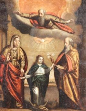 Ecole du XVIIIème siècle Jésus, Marie et Joseph  Huile