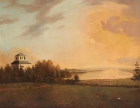 Ecole anglaise du XIXe siècle Paysage animé d'un