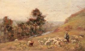 Albert CHARPIN (1842-1924) Troupeau de mouton Huile