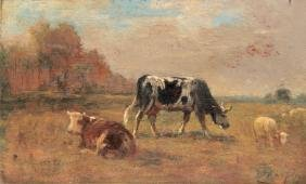 Albert CHARPIN (1842-1924) Vaches et moutons Huile