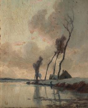 Alexandre JACOB (1876-1972) Paysage avec étang Huile