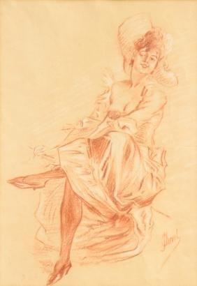 Jules CHÉRET (1836-1932) Femme assise Sanguine sur