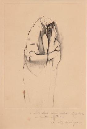 André LE MOIGNE (1898-1987) Femme voilée Gravure en