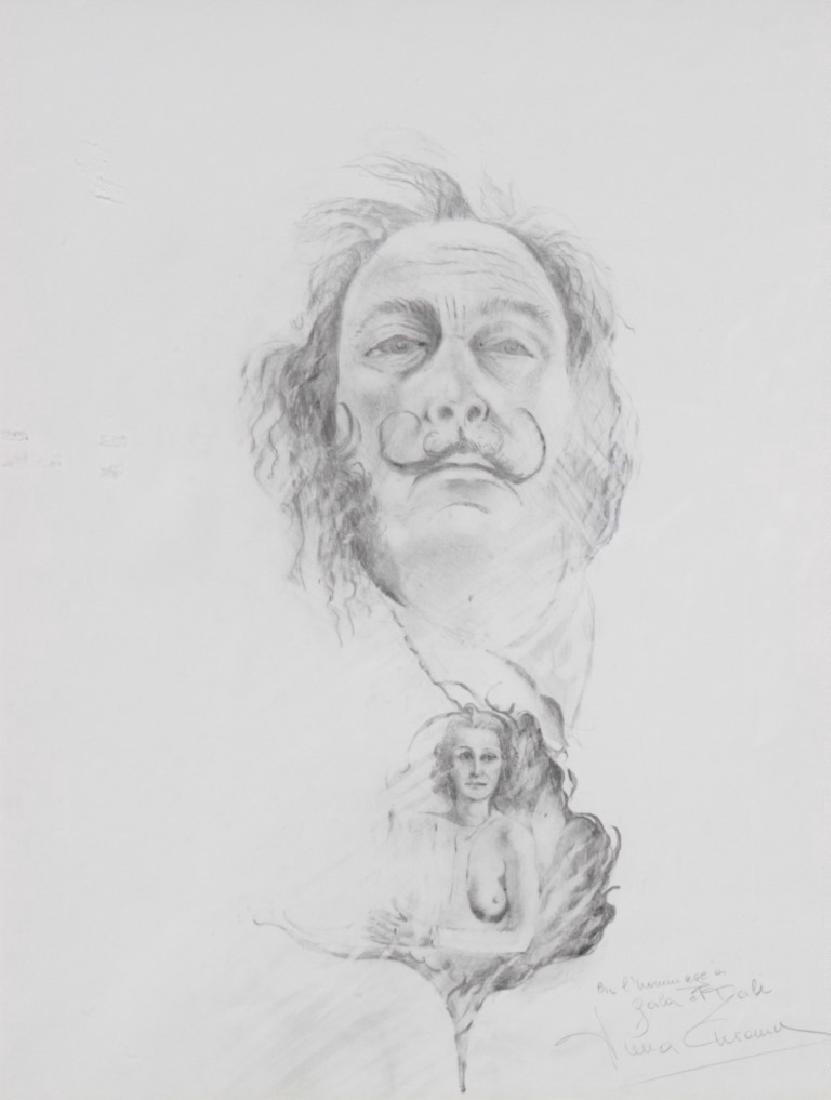 Portrait de Dali et de sa femme GALA Fusain sur papier.
