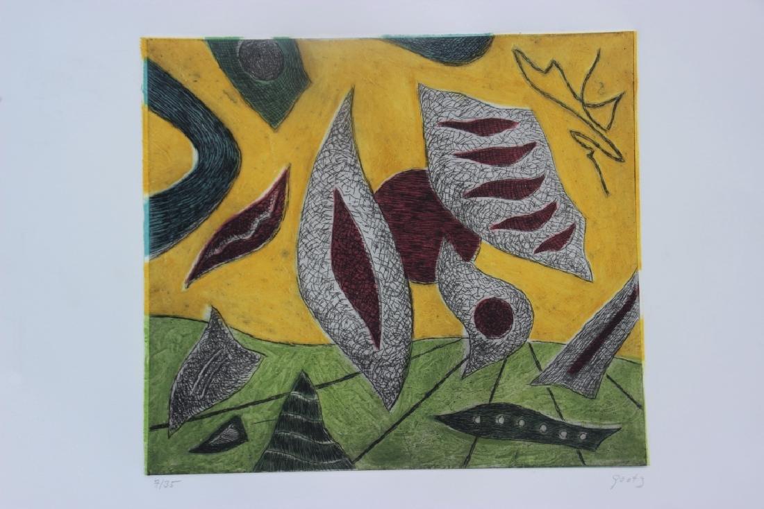 Henri GOETZ (1909-1989) Composition abstraite en vert