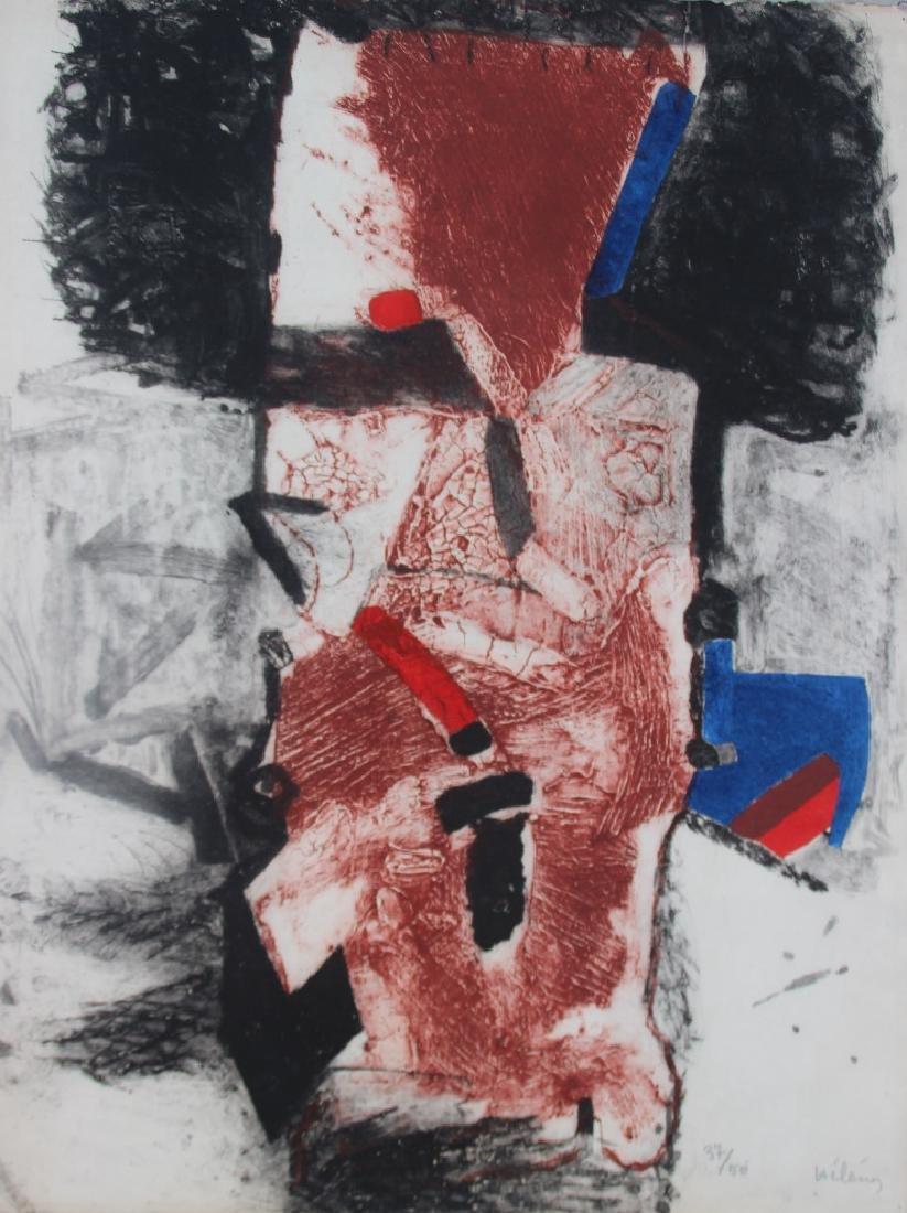 Serge HÉLÉNON (1934) Composition abstraite Gravure en