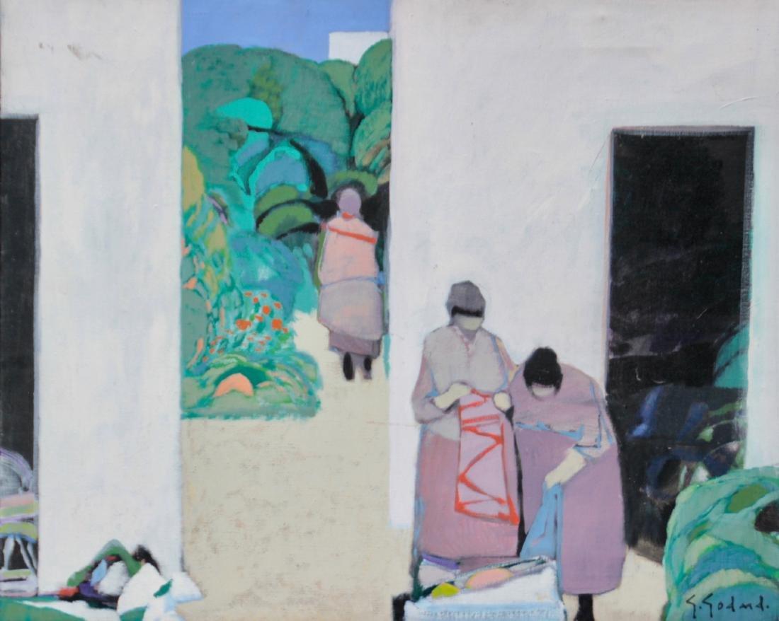 Gabriel GODARD (1933) Scène animée  Huile sur toile