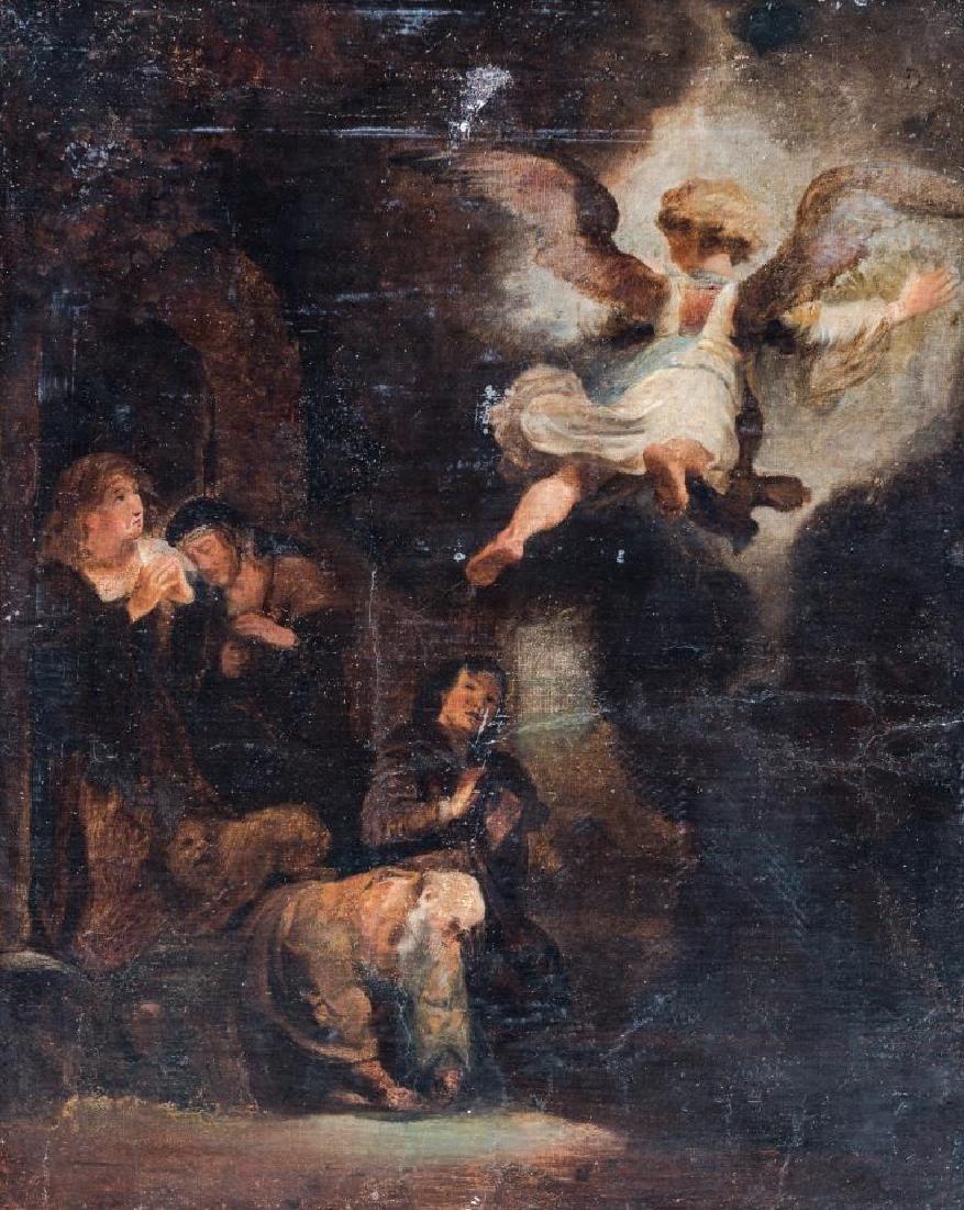 Ecole du XVIIIème siècle Scène biblique  Huile sur