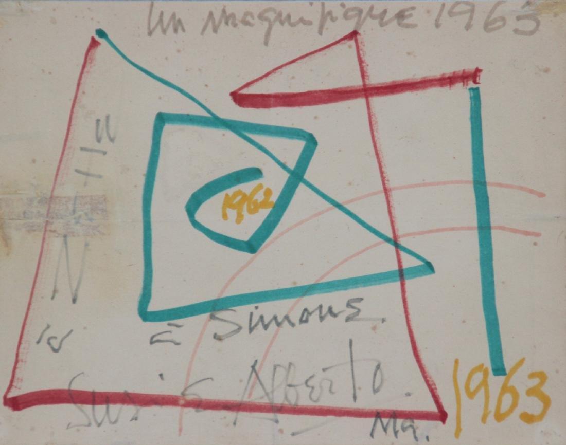 Alberto MAGNELLI (1888-1971) Composition - 1963 Feutre
