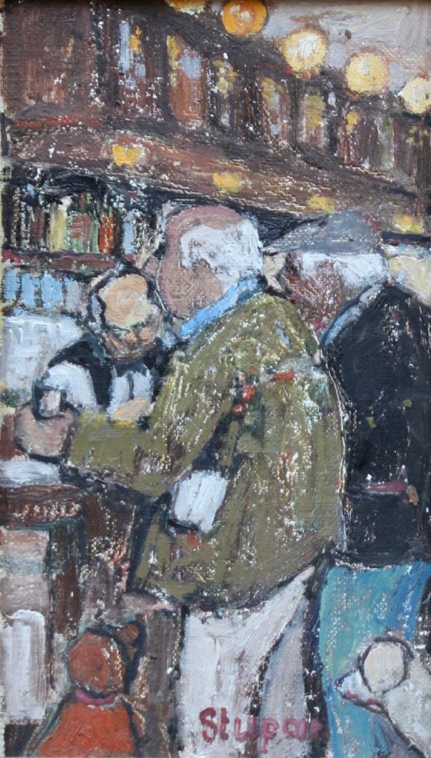Marko STUPAR (1936) Homme au bar Huile sur carton.