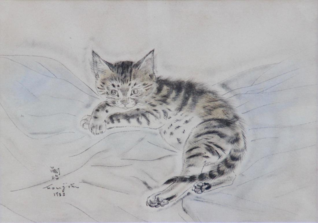 Tsuguharu FOUJITA (1886-1968) Chat - 1931 Lithographie