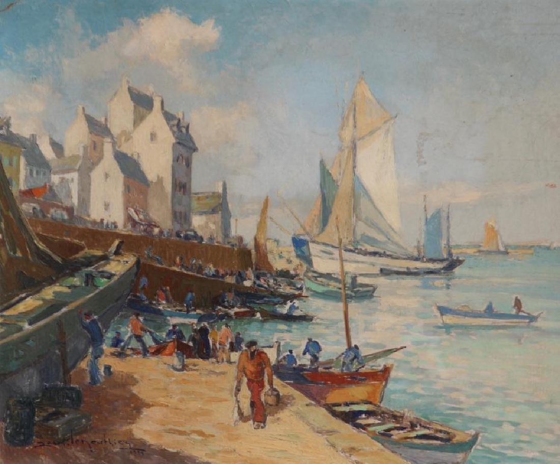 Jean LE NEUTHIEC (XX) Les marins au port - 1959 Huile