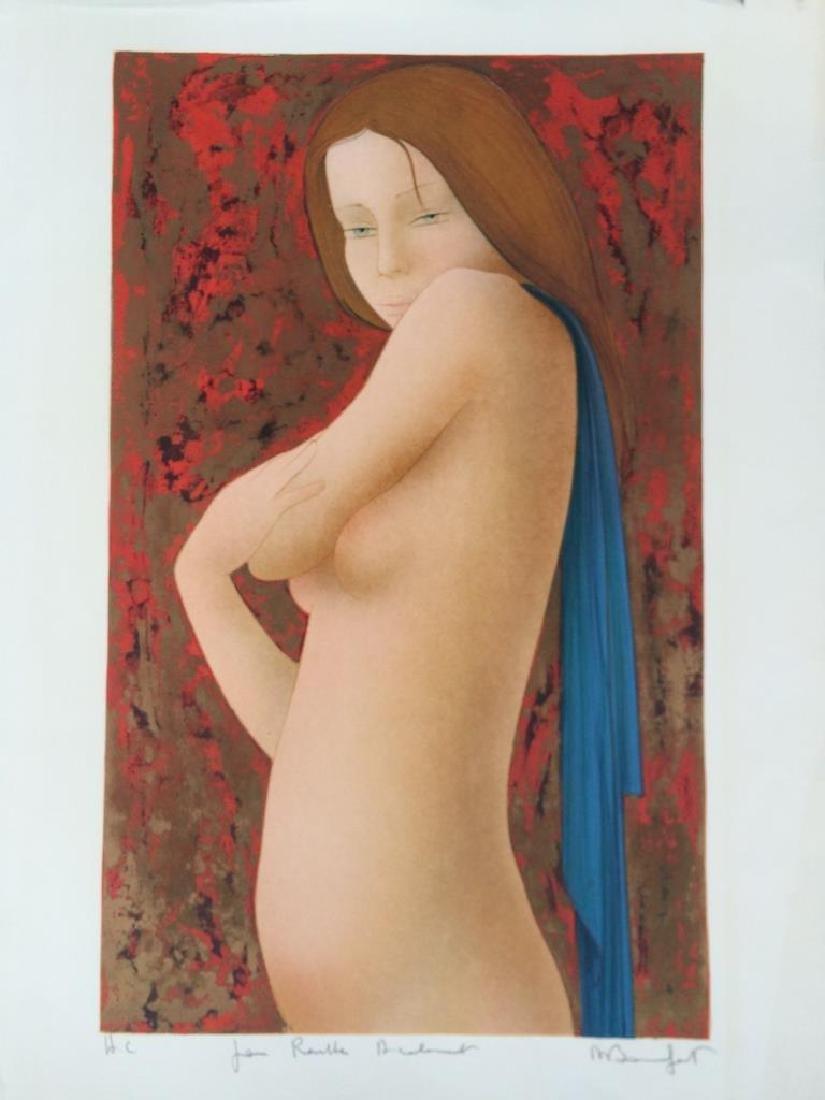 Alain BONNEFOIT (1937)  Nu féminin  Lithographie en