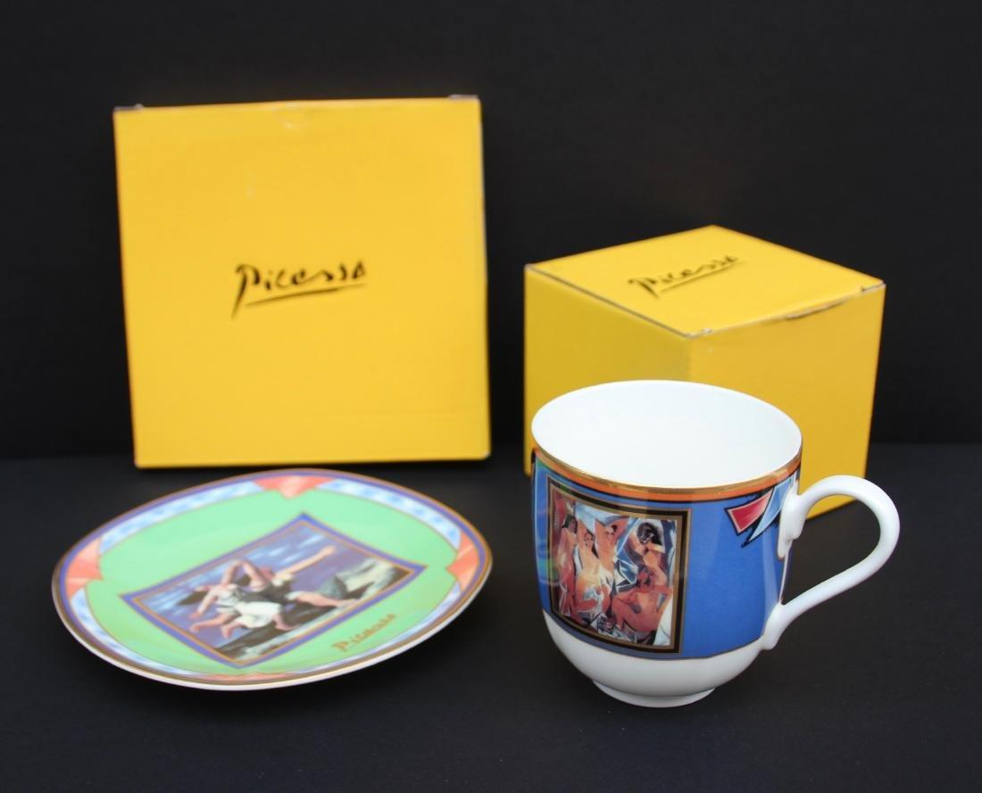 Pablo PICASSO (1881-1973) Paire de tasses et sous