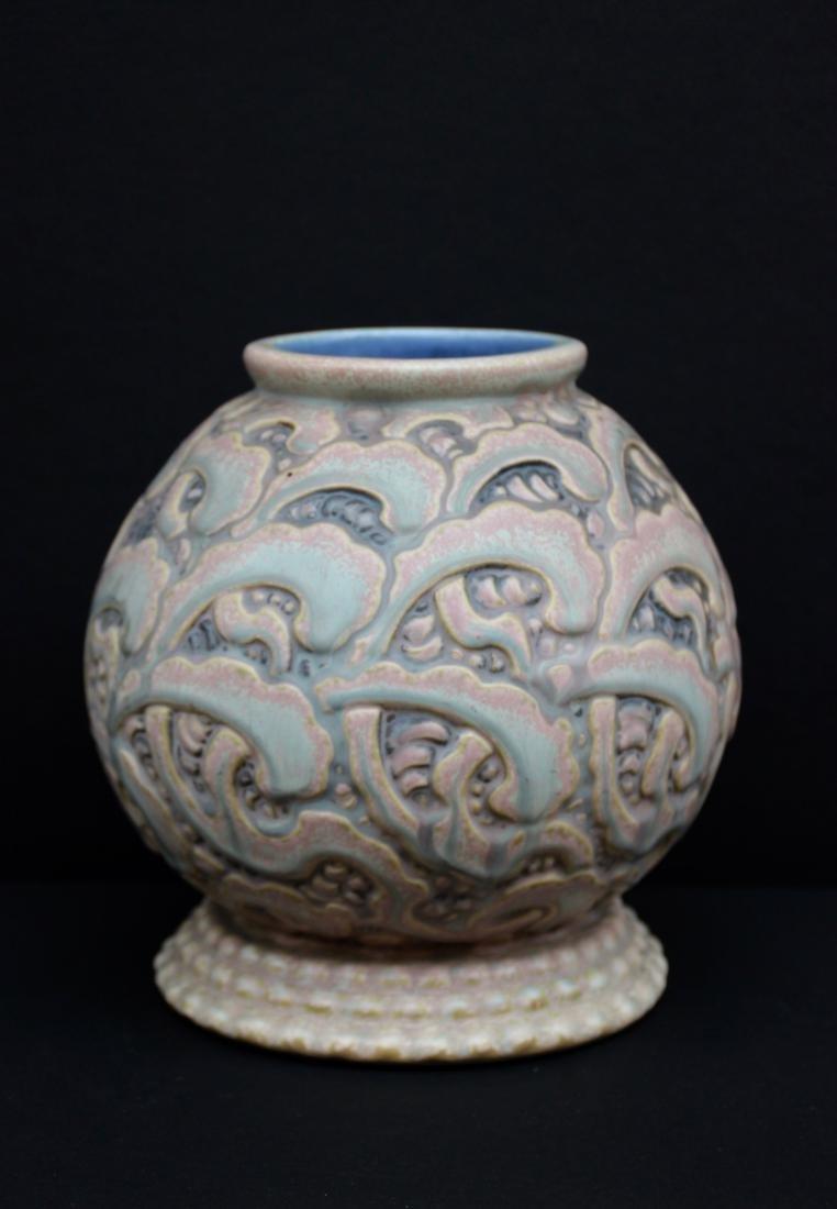 REVERNAY  Vase en grès de forme boule à décor de motifs