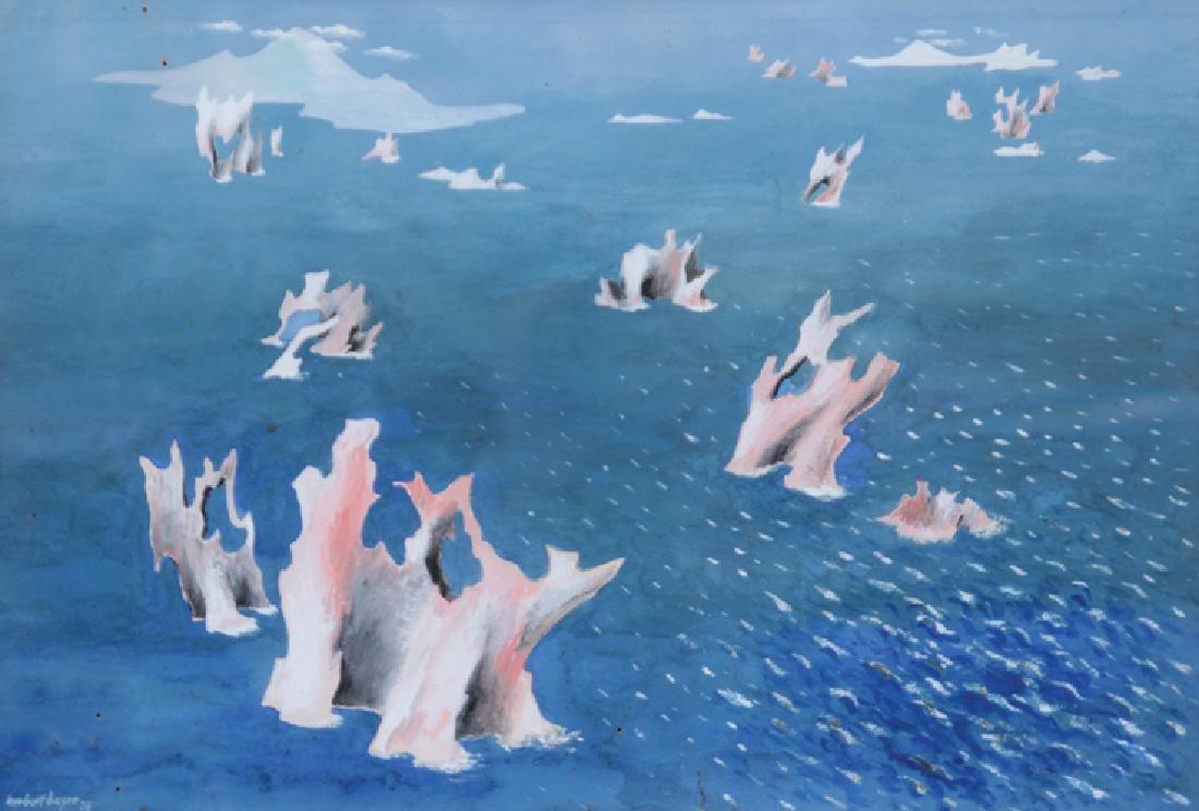 Herbert BAYER (1900-1985) Paysage de bord de mer - 1934