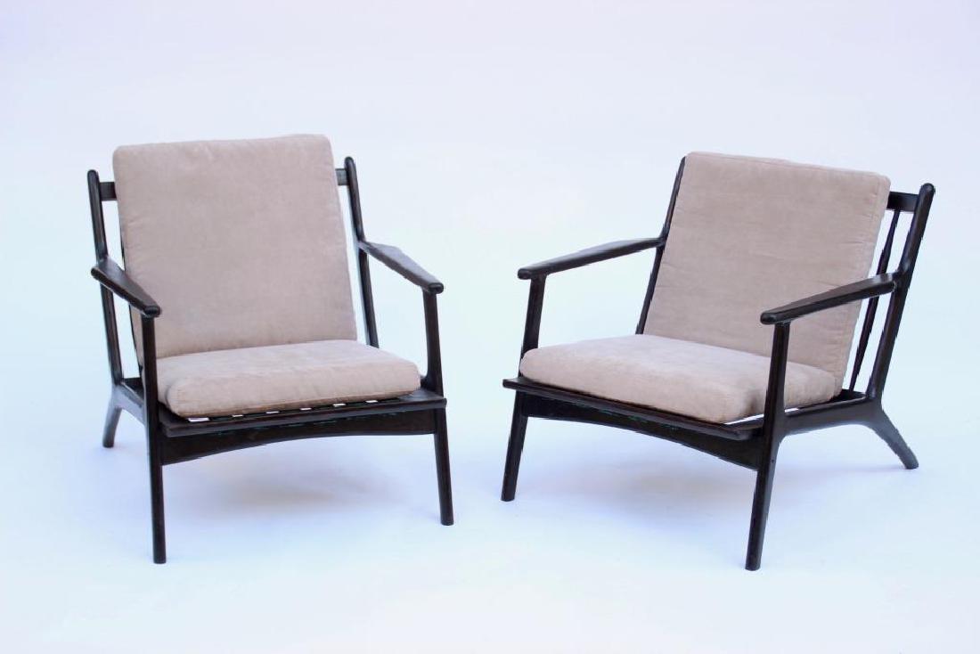 Travail italien des années 1950 Paire de fauteuils en