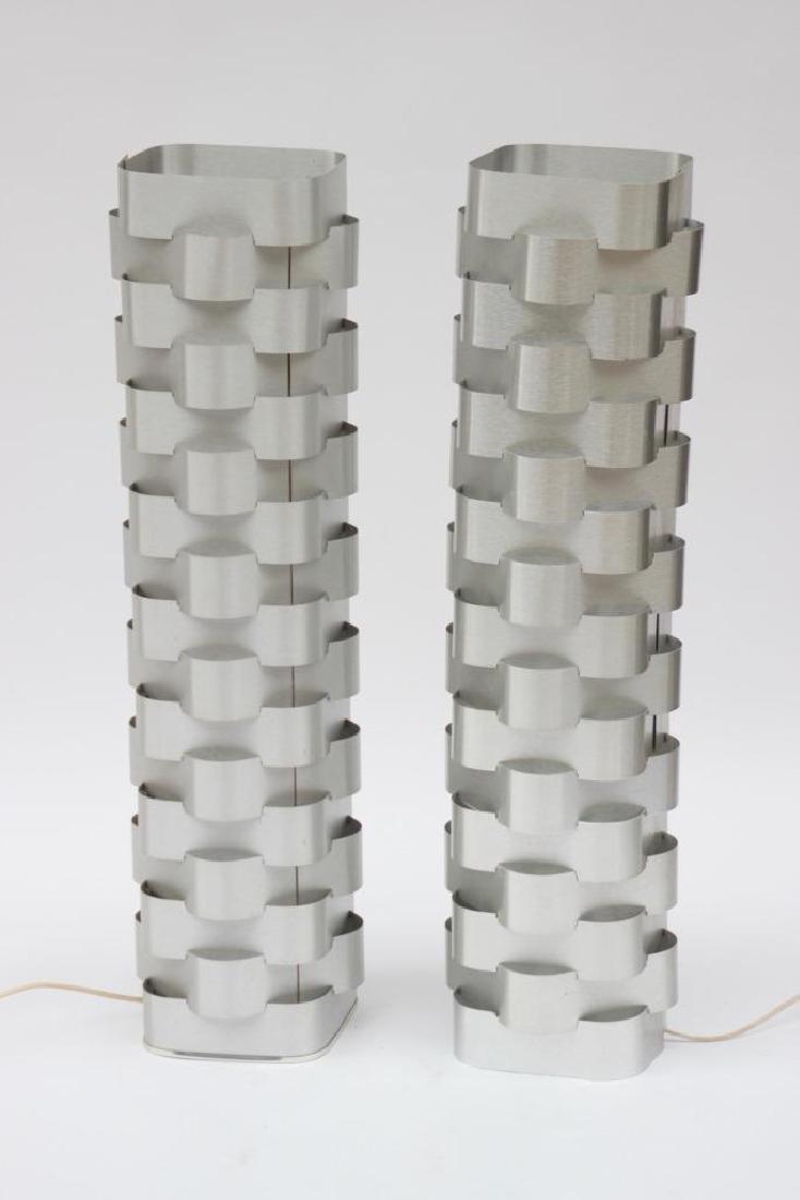 Max SAUZE (1933) Paire de lampadaires en lames