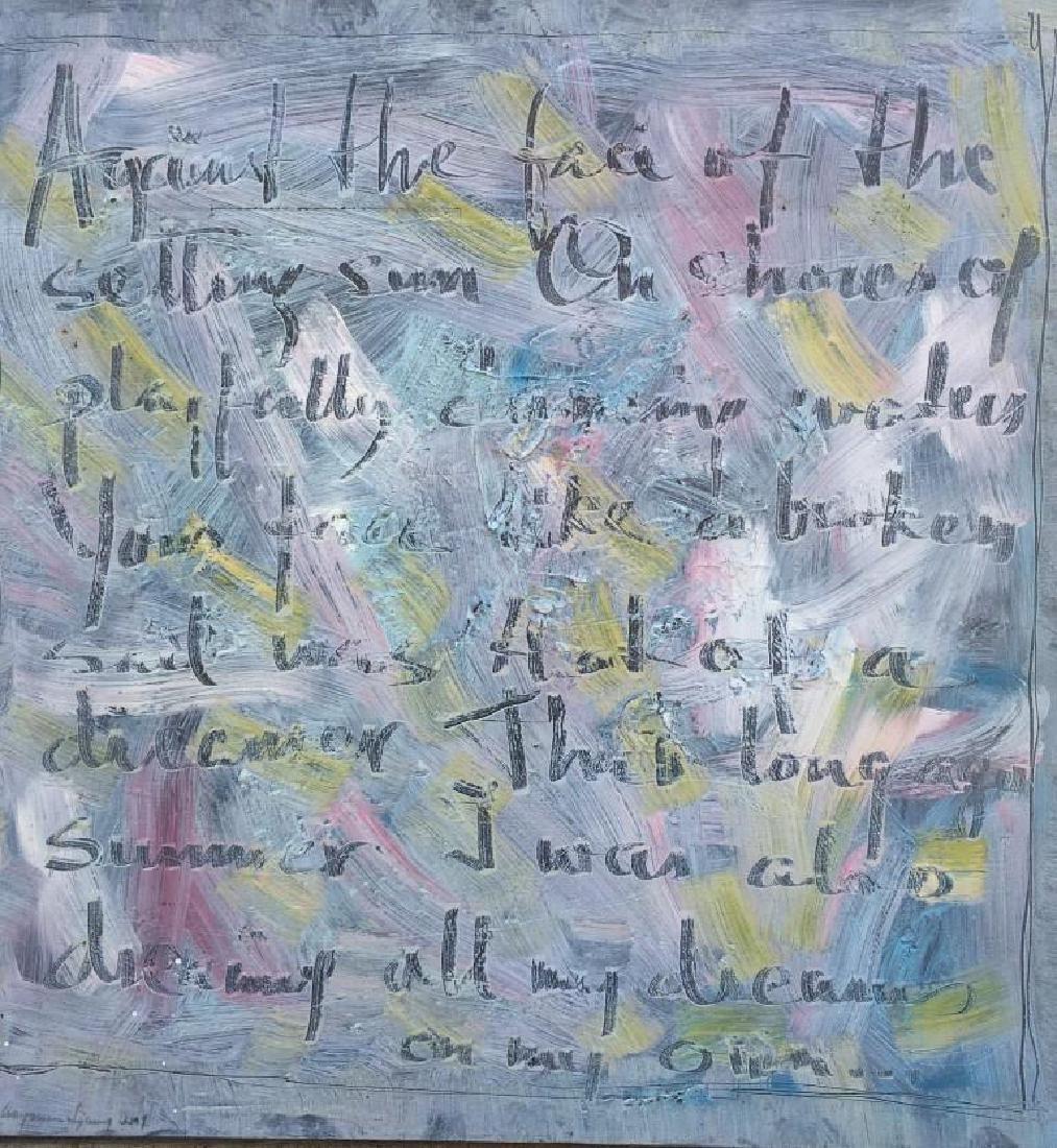 Marianne LJUNG  Love Letter V Huile sur toile. Titré au
