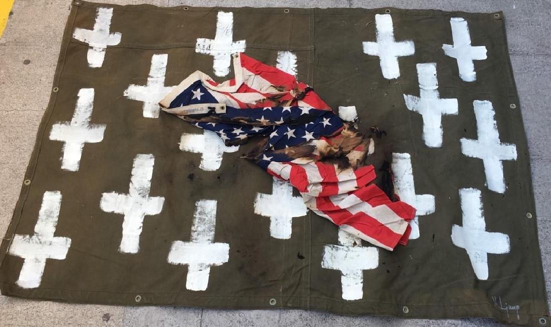"""Maryanne LJUNG """"Croix américaine"""" Huile sur toile de"""