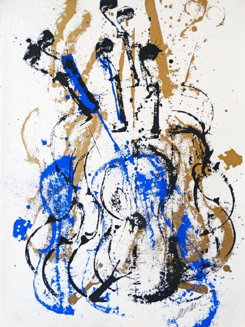 ARMAN (1928-2005) « Folk Song Bleue »  Lithographie
